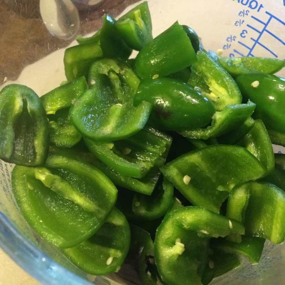 Prepping peppers for jelly